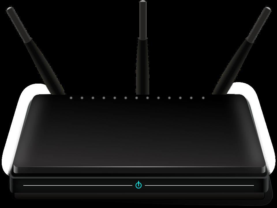 Czarny router z trzema antenami z jasno niebieskim podświetleniem przycisku włącz/wyłącz