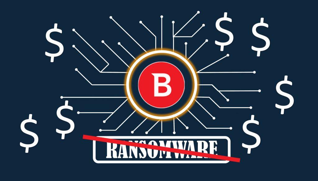 Okrongłe czerwone logo Bitdefender w złotym pierscieniu, od którego odchodzą ścieżki prowadzące do znaku dolara ($), pod logiem znajduje się przekreślony na czerwono napis ransomware