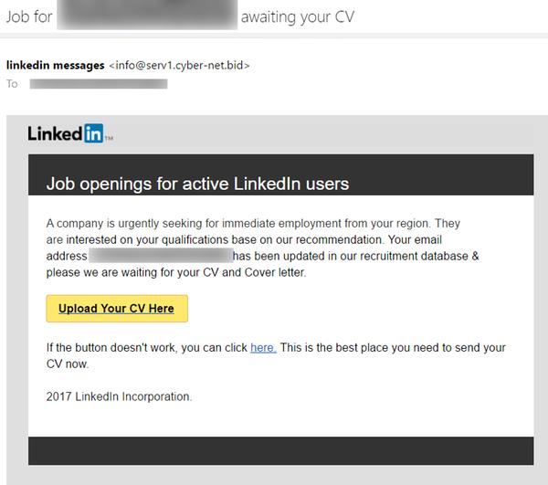 Przykład fałszywego e-maila z Linkedin