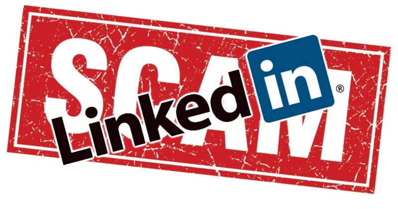 Logo Linkedin na tle napisu SCAM