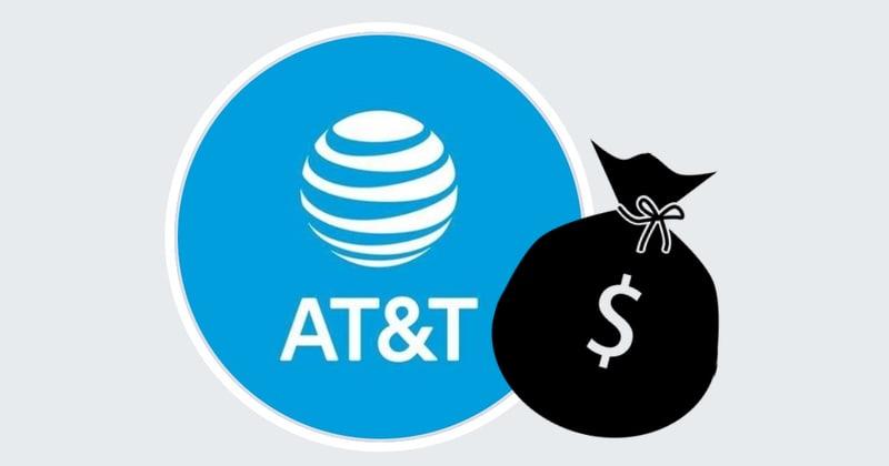 Logo AT&T i czarny worek z znakiem dolara $
