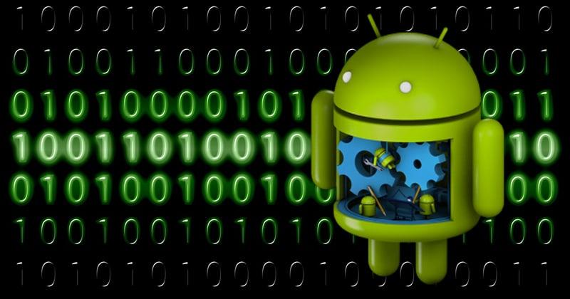 3D logo androida na tle liczb w systemie binarnym (1,0)
