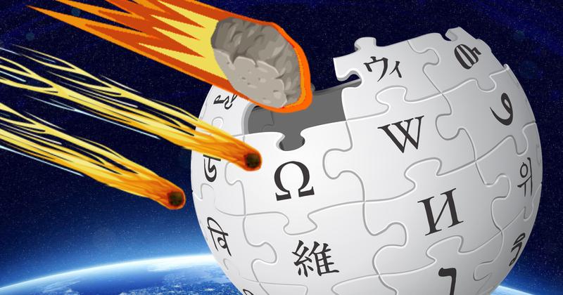 Meteoroidy spadające na logo Wikipedii na tle przestrzeni kosmicznej i kuli ziemskiej