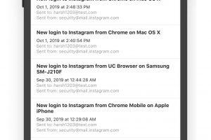 Wiadomości od Instagrama o logowaniu z różnych urządzeń
