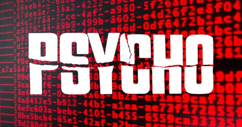 Duży biały napis psycho na tle czerwonych napisów w szesnastkowym systemie liczbowym