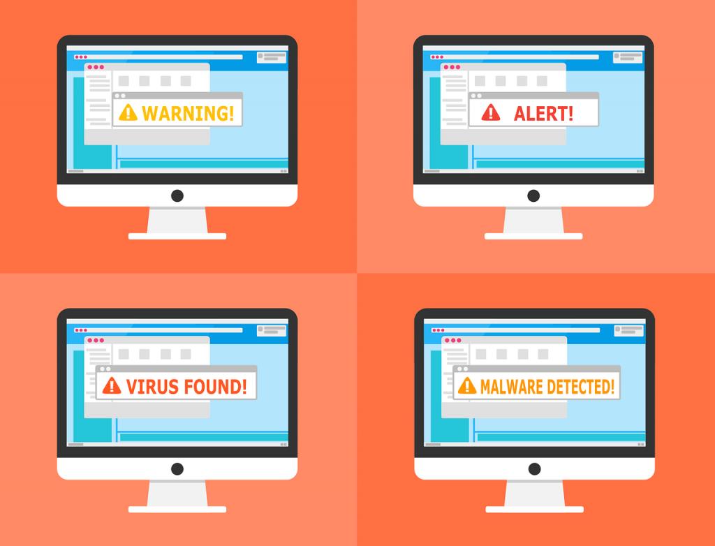Cztery Mac'i z różnymi komunikatami: warning!, alert!, virus found!, malware detected!; na tle dwóch odcieni pomarańczowego ułożonych w szachownice