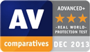 Certyfikat AV-COMPARATIVES - Top Rated product 2013 Real-World Protection Test