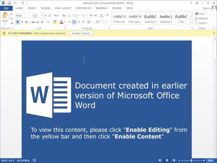 Backdoor MineBridge w dokumencie Word